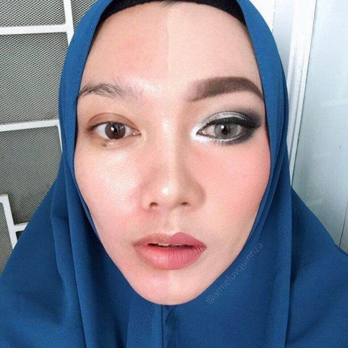 Девушки красят только одну половину лица