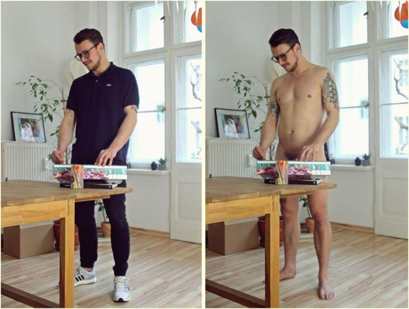 Немцы занимаются повседневными делами в одежде и голышом