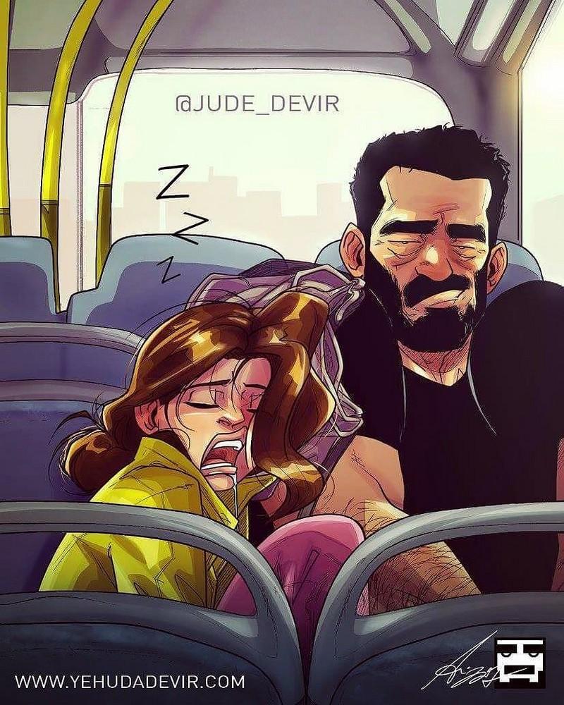 Художник иллюстрирует каждый день семейной жизни с женой