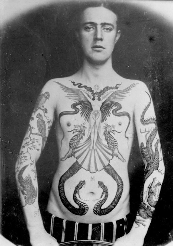 Работы первого профессионального тату-мастера Великобритании