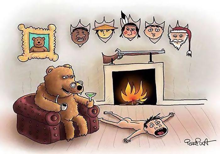 Смешные нарисованные картинки с животными и людьми, цветы