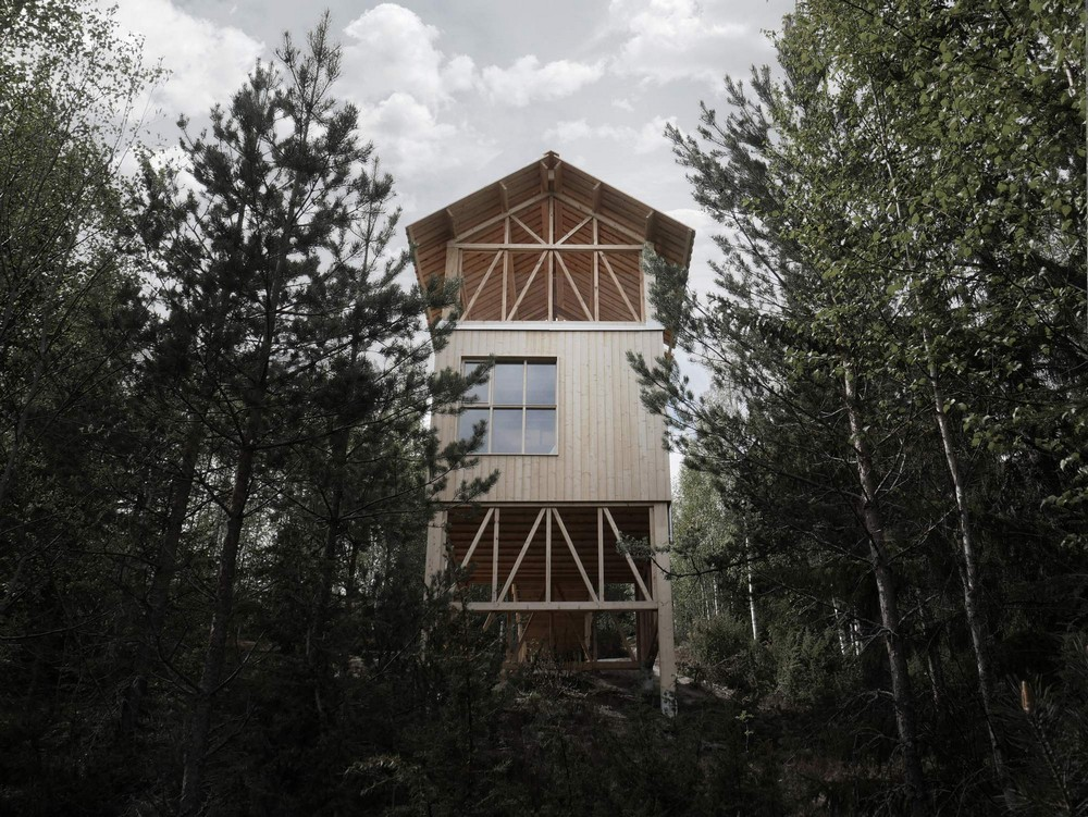Деревянный отель с видом на горы Эсбергет в Швеции