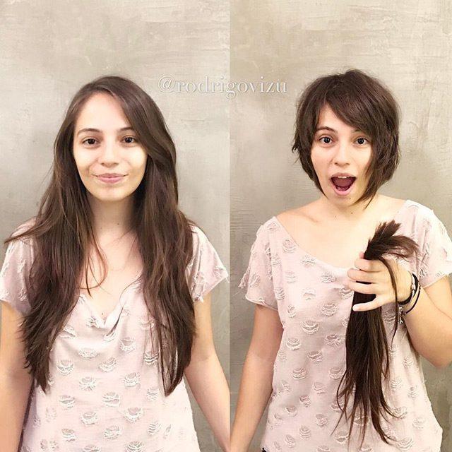 Короткие стрижки девушек: до и после