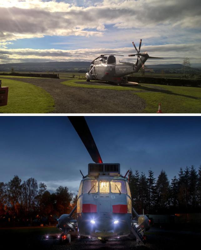 Современная гостиница внутри вертолета