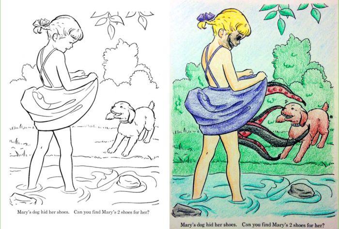 Взрослые испортили детские раскраски
