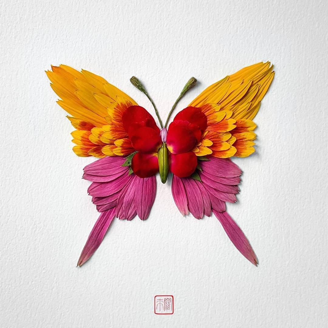 Цветочные насекомые от художника Раку Иноуэ