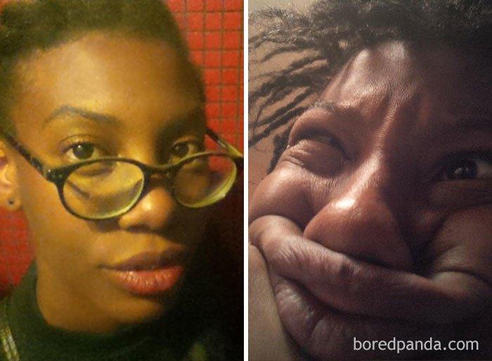 Симпатичные девушки корчат рожи: до и после