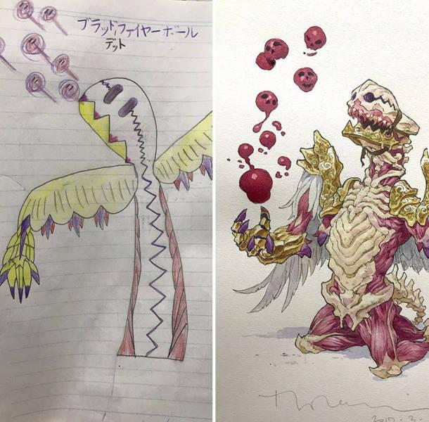 Художник доработал персонажей аниме по рисункам сына