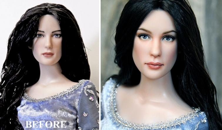 Художник перерисовывает лица куклам с внешностью звезд