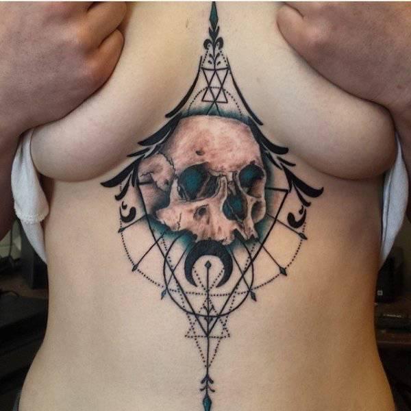 Татуировки под женской грудью
