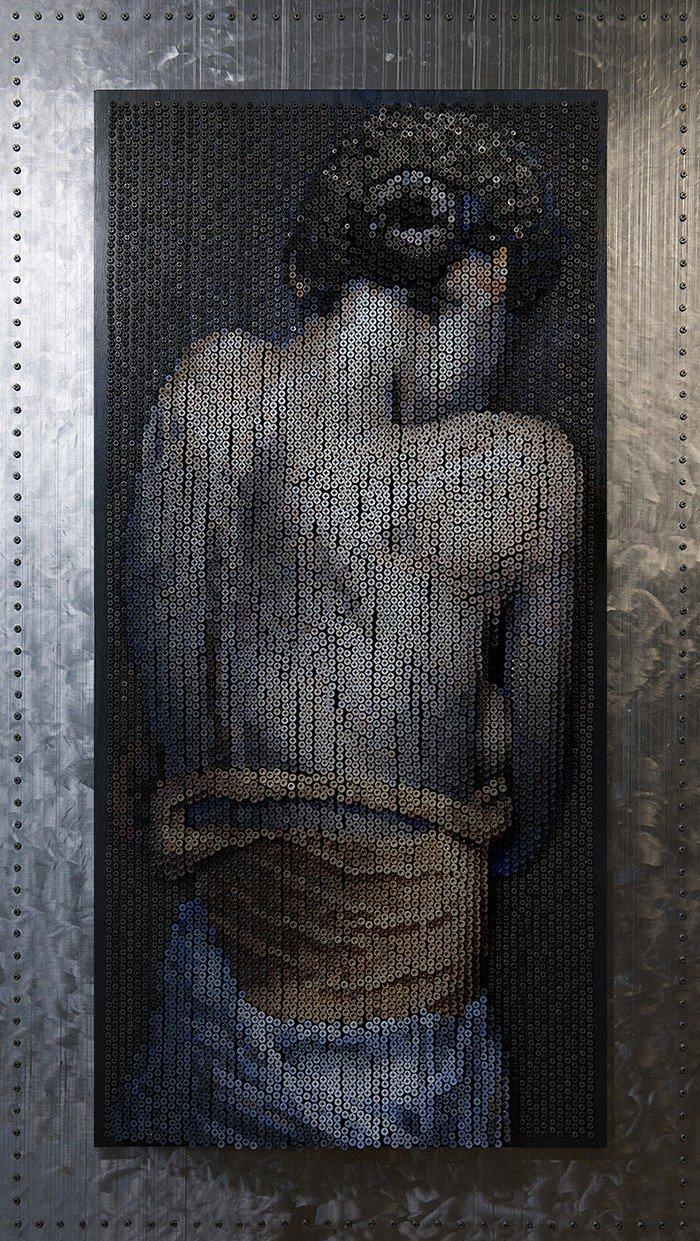 Картина-скульптура из шляпок шурупов