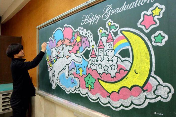 Креативные рисунки на школьной доске