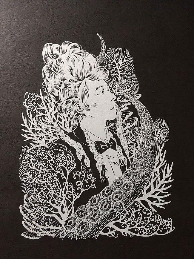 Японский художник вырезает из бумаги детализированные фигуры