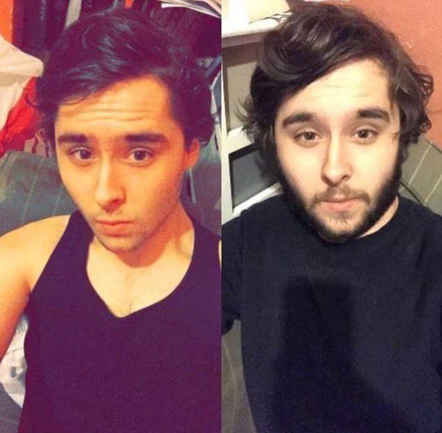 До и после сбривания бороды
