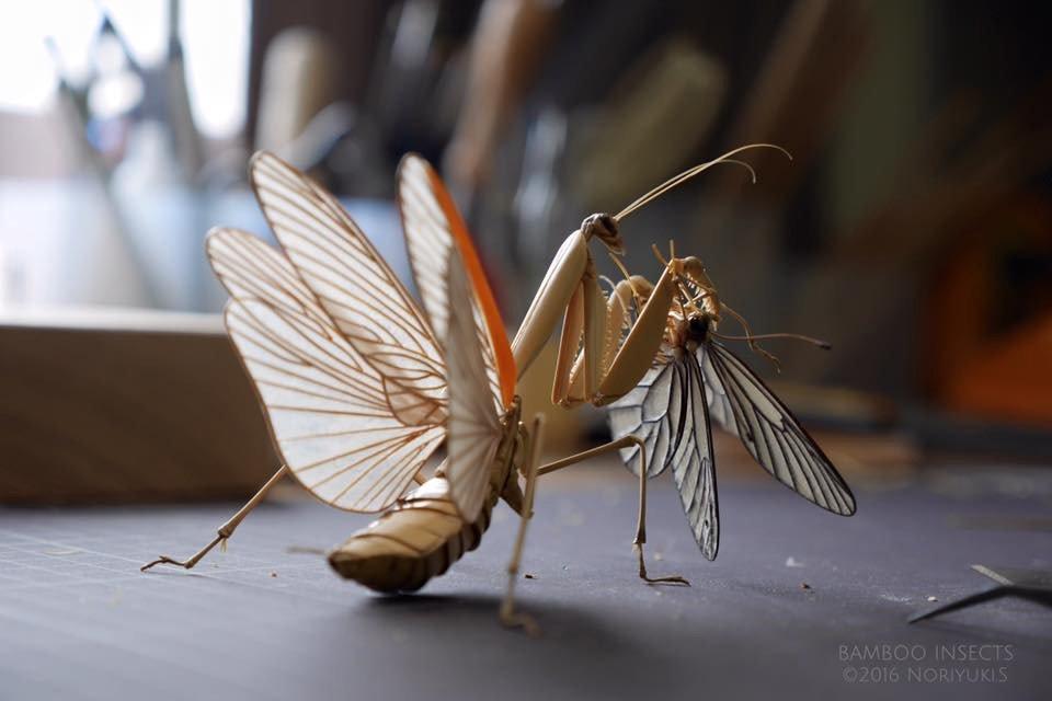 Невероятные скульптуры насекомых из бамбука