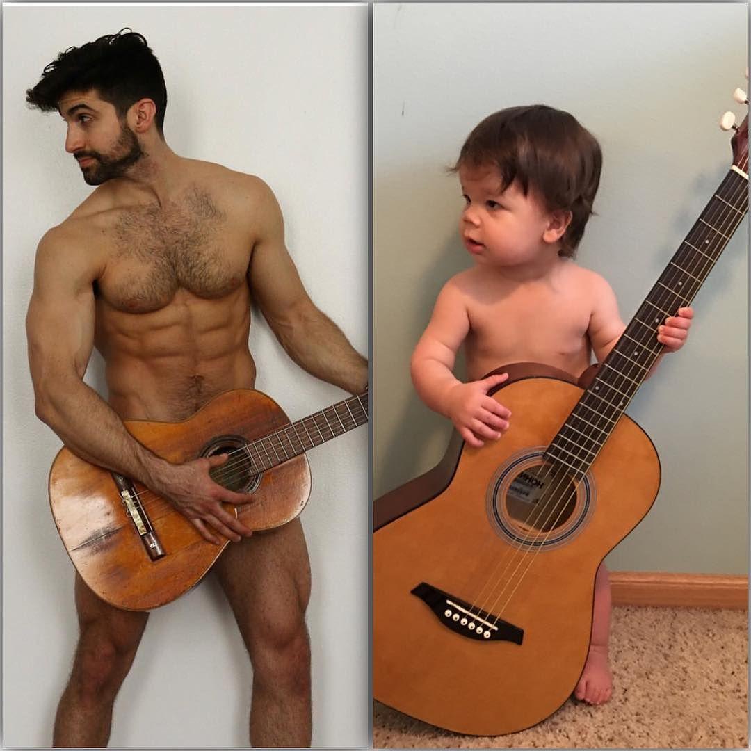Малыш воссоздает снимки своего дяди-модели