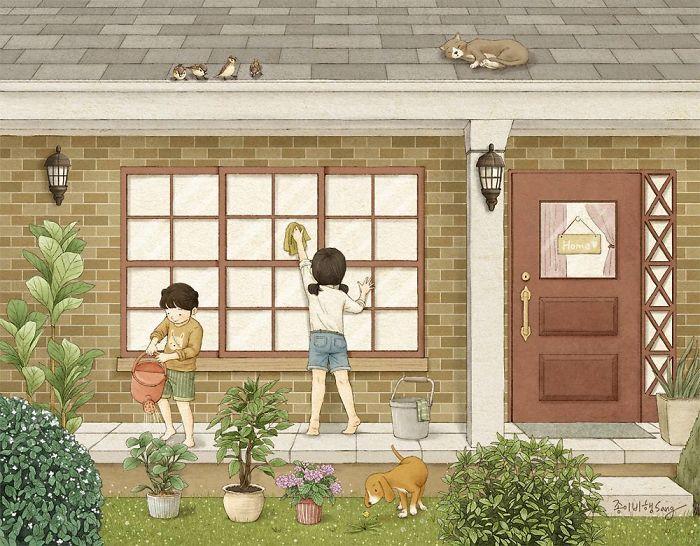 Милые рисунки про связь между сестрами