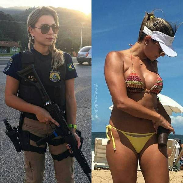 Девушки в униформе и на отдыхе