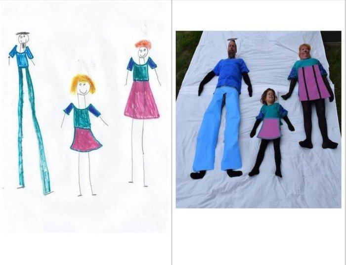 Родители воссоздали семейные рисунки своих детей