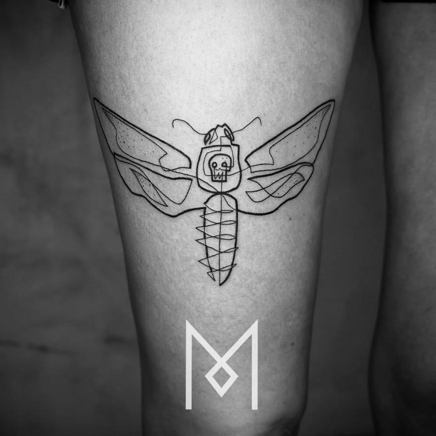 Татуировки в одну линию от Мо Ганджи