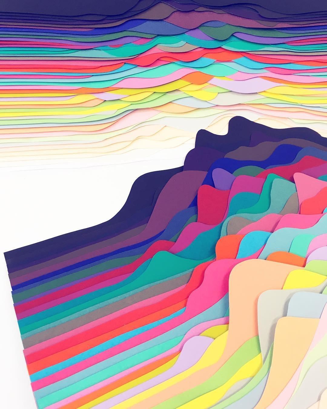 Разноцветные 3D-композиции из бумаги от Мод Вантур