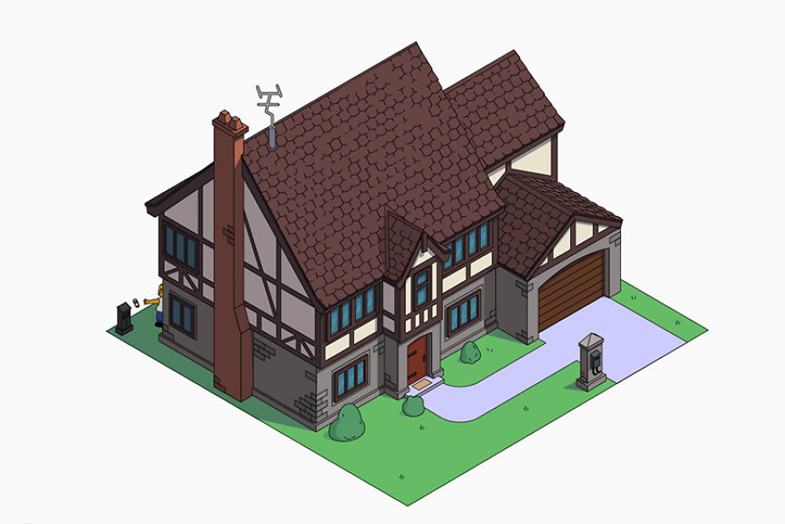 Дом Симпсонов в разных архитектурных стилях