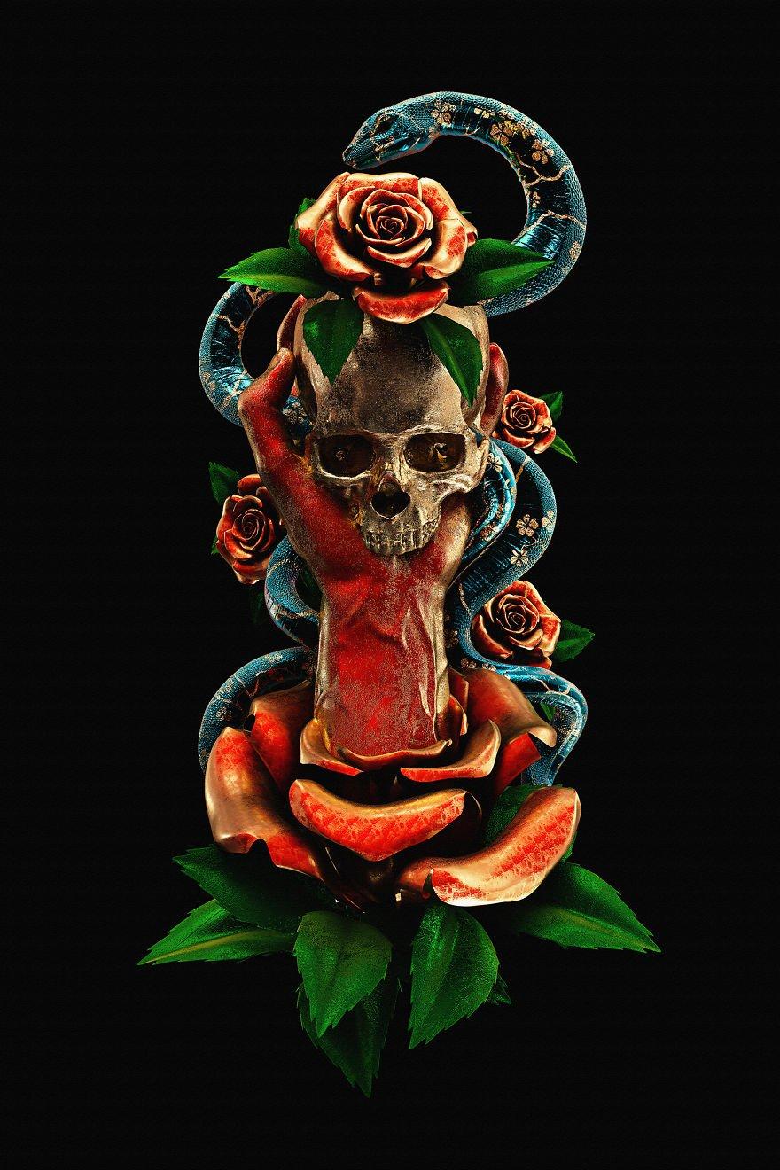 3D-иллюстрации в виде традиционных татуировок