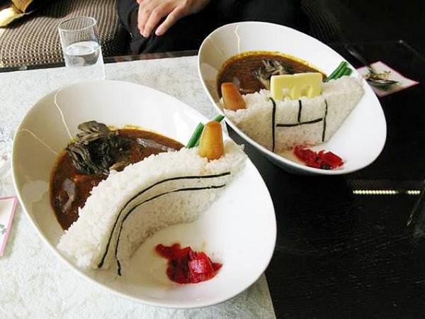 Плотина из риса в тарелке