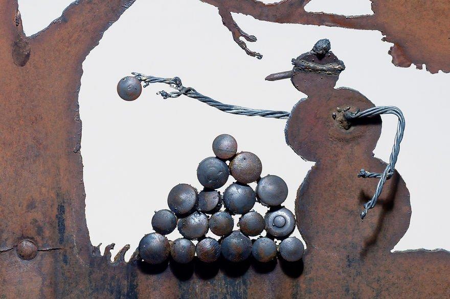 Зимние композиции из старых лопат от Синди Чинн