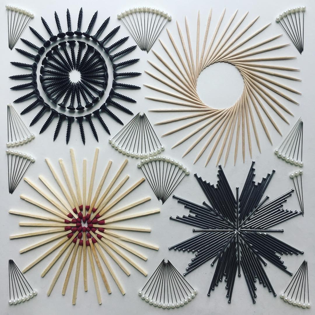 Узоры из повседневных предметов от Адама Хиллмана