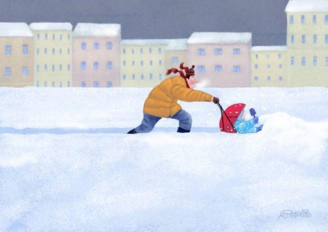 Добрые рисунки художника Андрея Попова