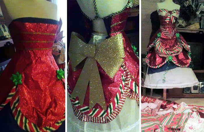 Девушка создает яркие платья из подарочных упаковок