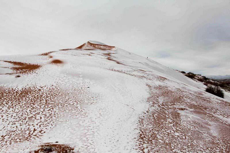 В пустыни Сахара второй год подряд выпал снег