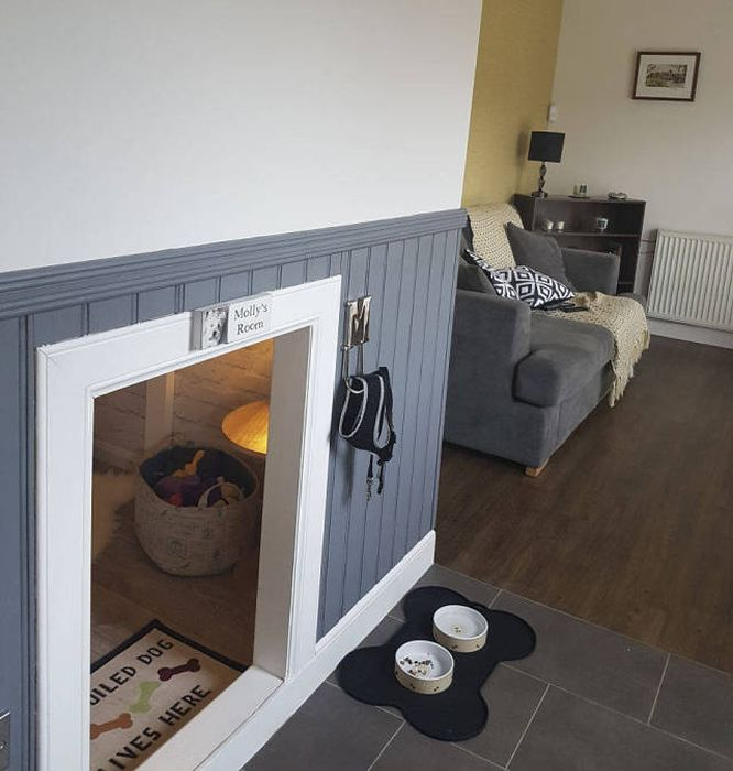 Уютная комната под лестницей для любимой собаки