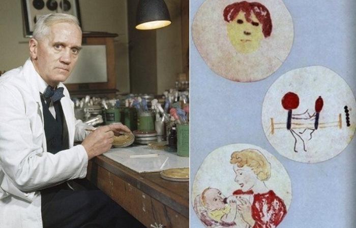 Александр Флеминг и его рисунки из микроорганизмов
