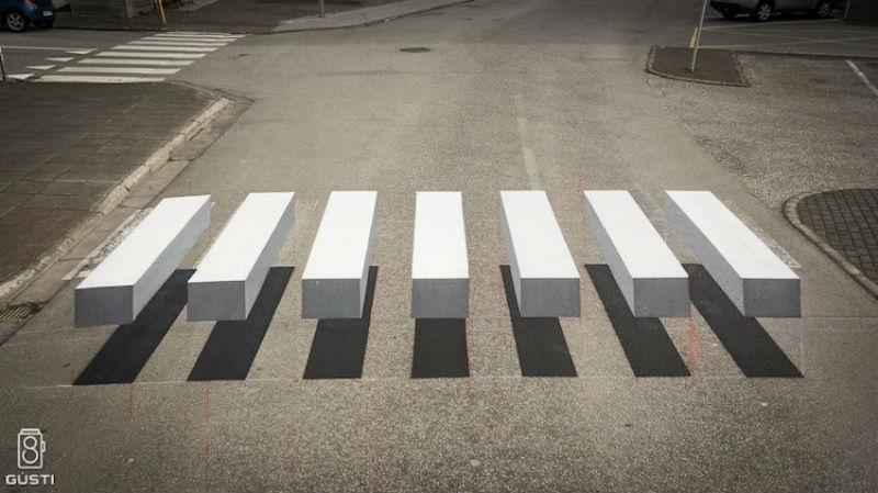 3D-зебра останавливает всех водителей