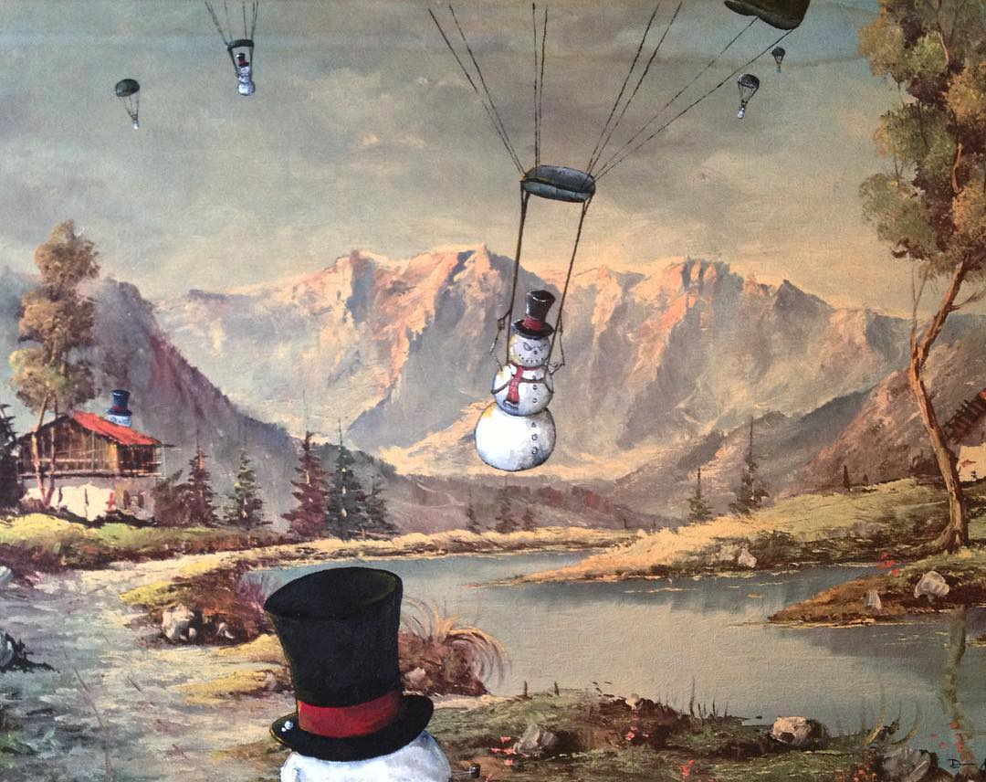 Классическая живопись с объектами современной поп-культуры