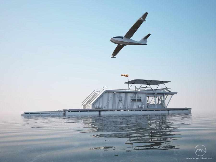 Плавучий дом, пристань для лодок и парковка для гидроплана