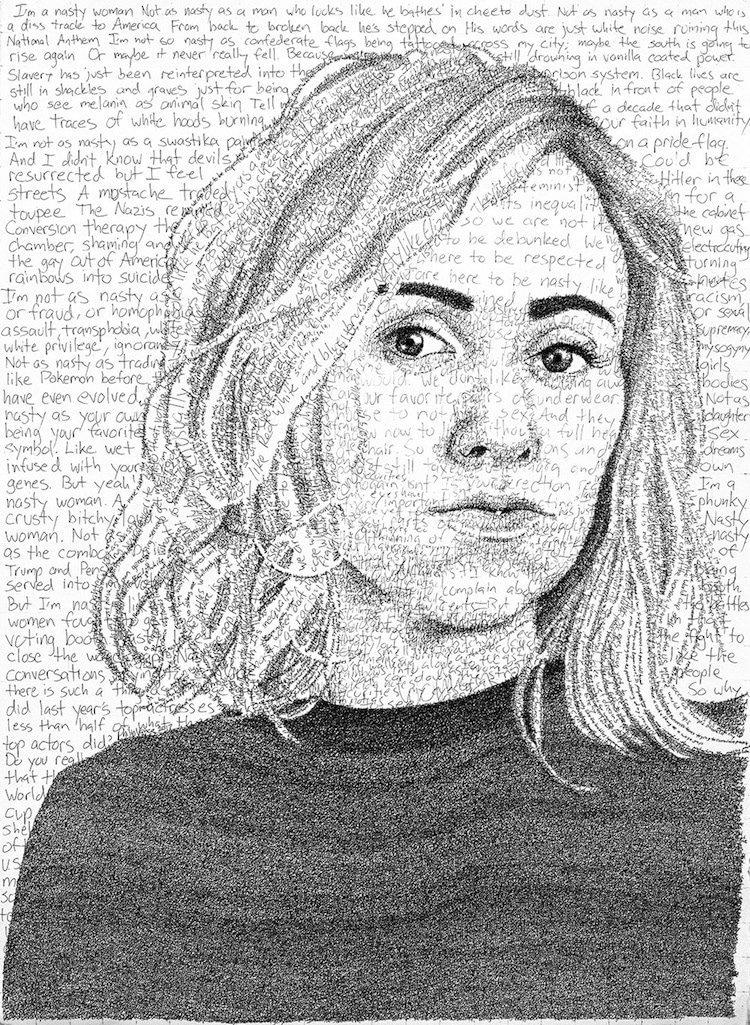 Портреты художника Фила Вэнса полностью из рукописного текста