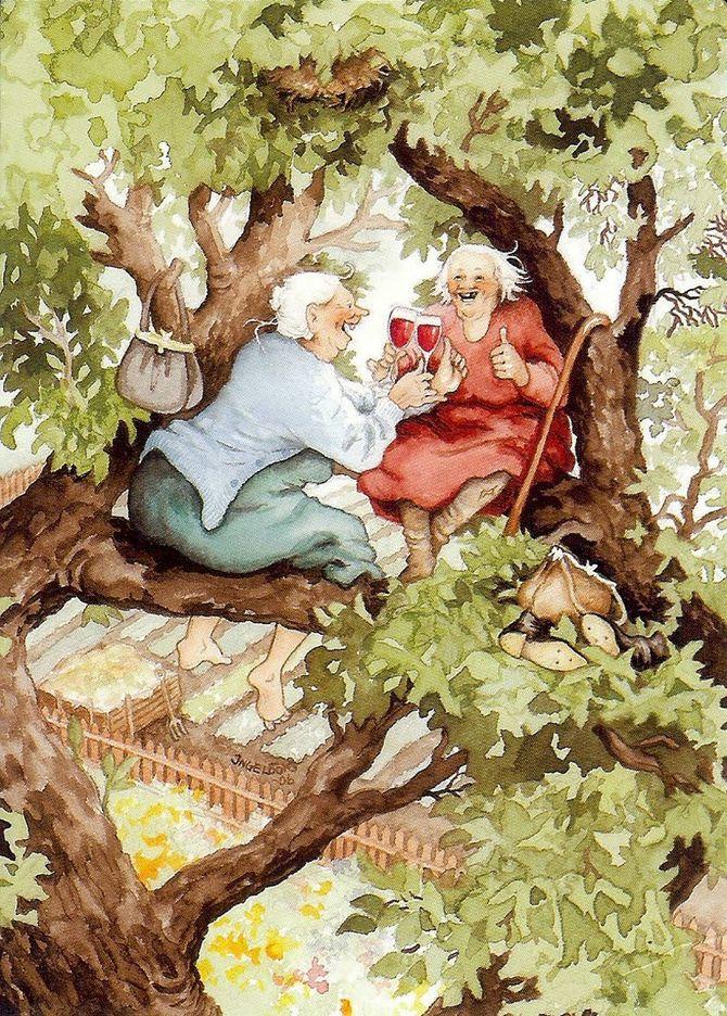 Серия открыток с неунывающими старушками