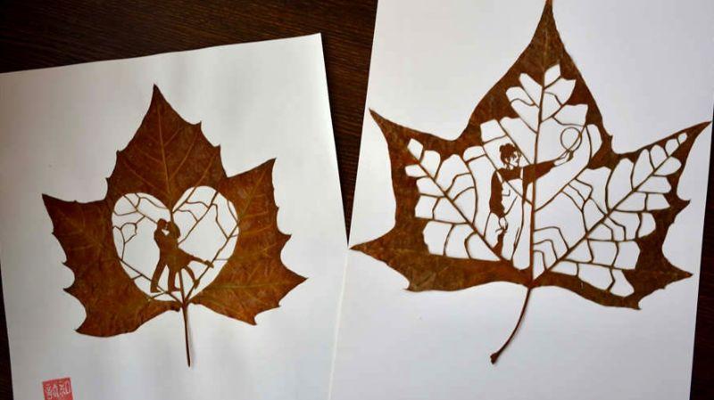Студент-самоучка вырезает на листьях сложные узоры