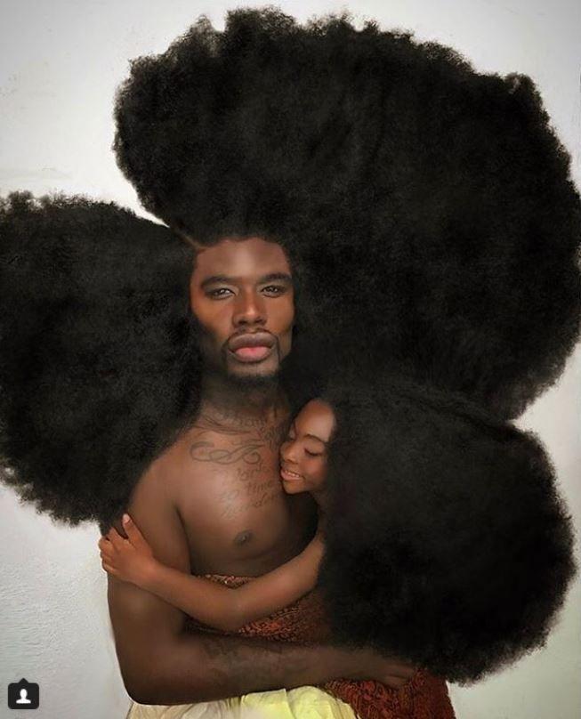 Обладатель самой пышной шевелюры в мире и его дочь