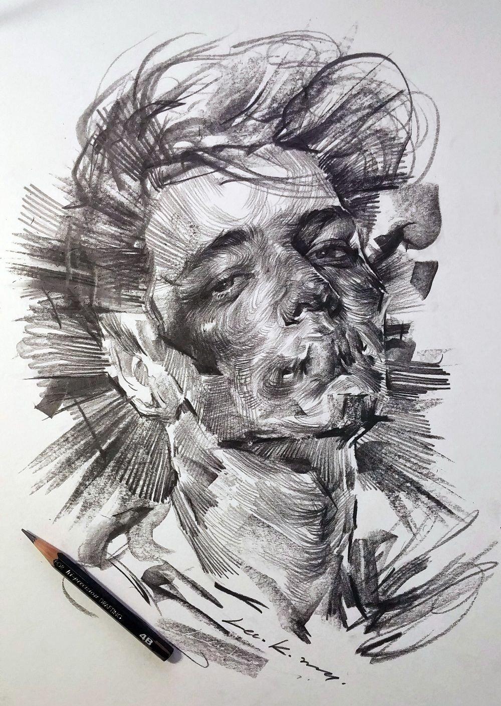 Монохромные портреты от сеульского художника Lee. K