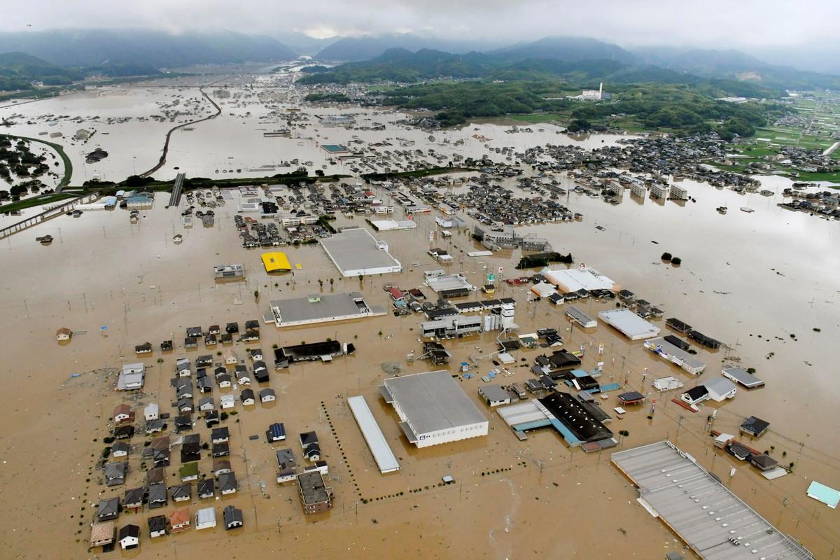 Сильные наводнения в Японии