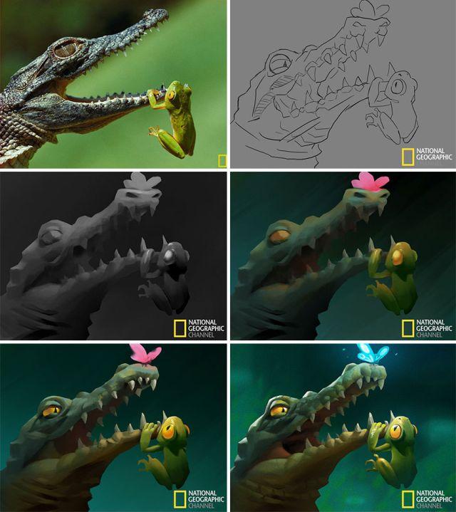 Рисунки по мотивам фотографий от National Geographic