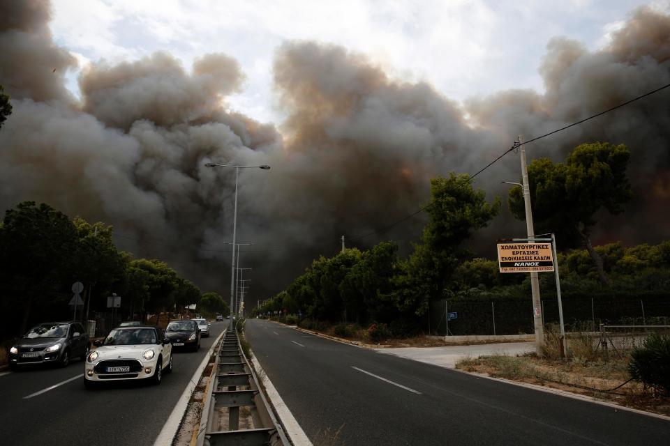 Пожары бушуют в Греции
