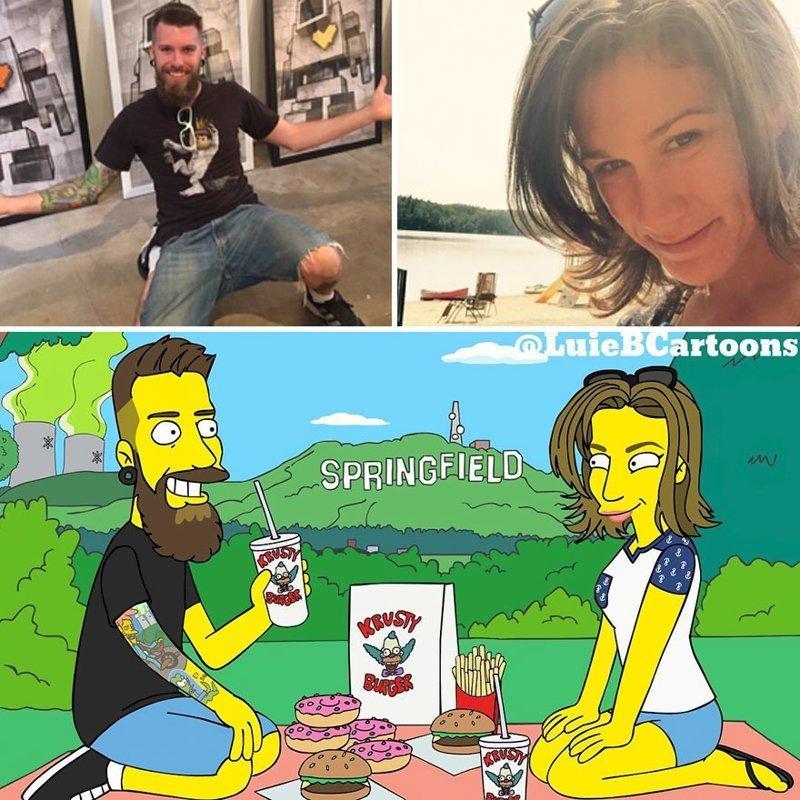 Художник превращает обычных людей в персонажей Симпсонов