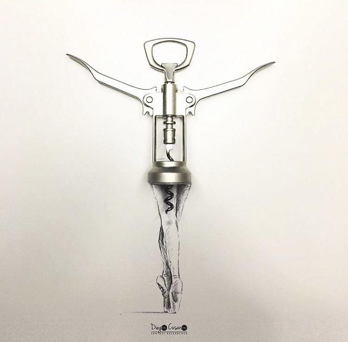 Художник превращает обычные предметы в умные иллюстрации