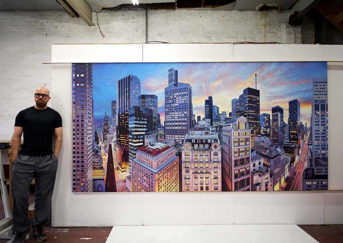 Британский художник пишет трехметровые картины с улицами Нью-Йорка