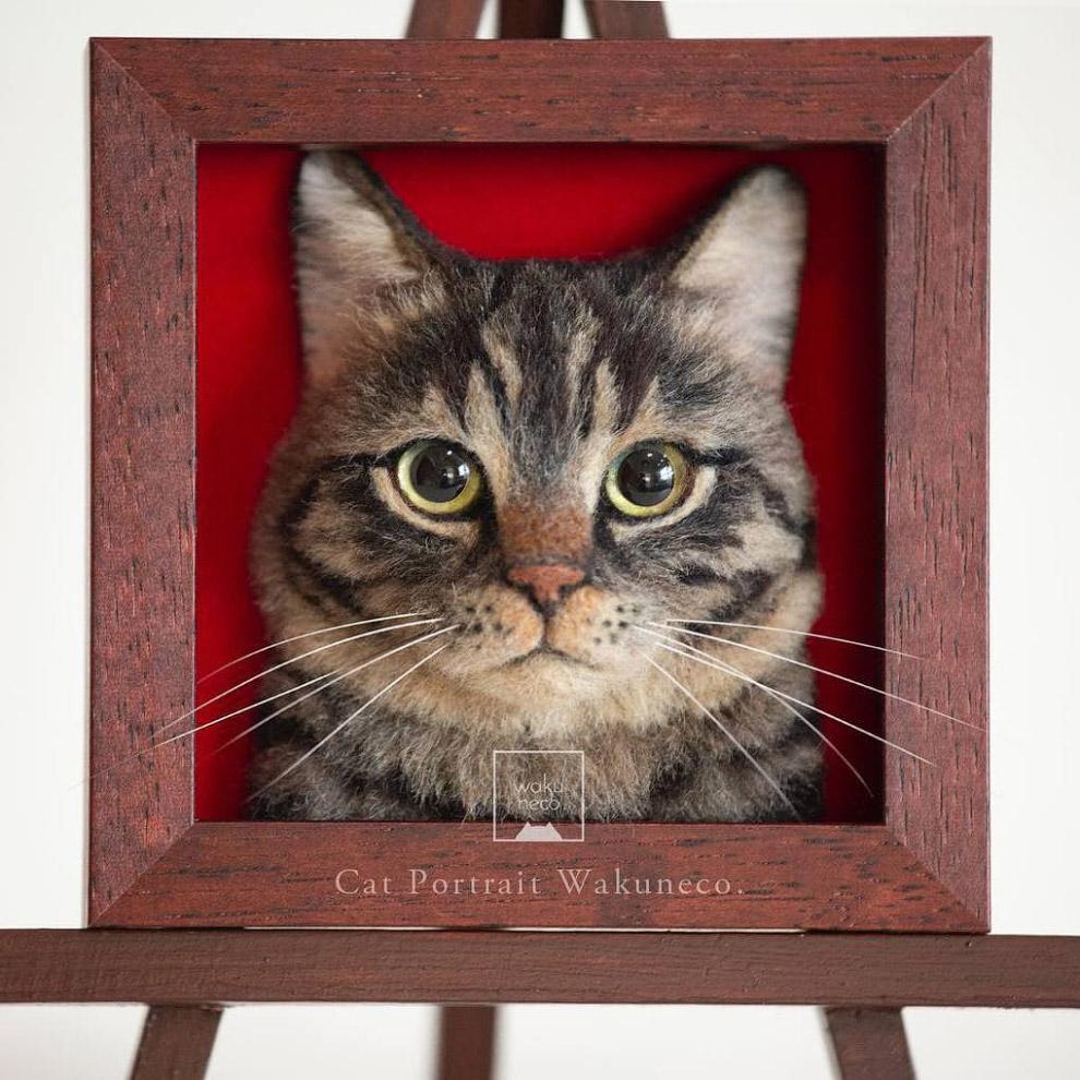 Реалистичные 3D-портреты кошек из шерсти